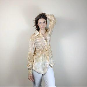 Vintage silk Escada cream ivory button blouse